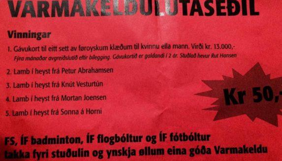Lutaseðlarnir á Varmakeldu 2017 eru nú drignir :-)